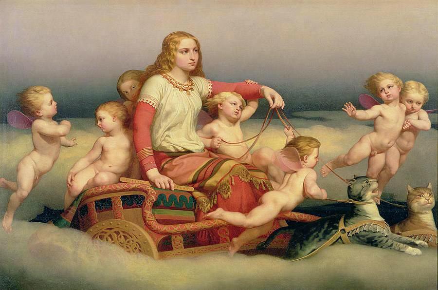Tableau de Freyja et ses chats par Nils Blommer